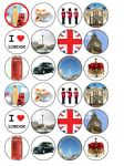 24 x London UK Britain England edible wafer paper cup cake bun cake top toppers